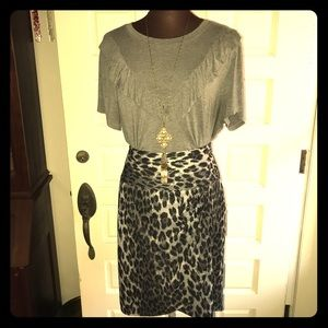 Lane Bryant knit  leopard skirt